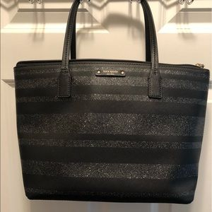 Kate Spade black and silver sparkled striped tote